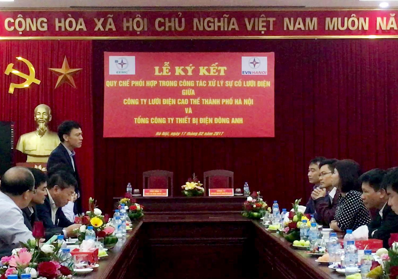 Ký kết quy chế phối hợp trong công tác xử lý sự cố lưới điện với Công ty lưới điện cao thiế Hà Nội